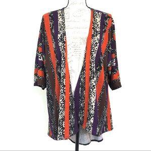 Lularoe Lindsay Leopard & Striped Print Kimono